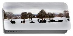 Herd Of Yaks Bos Grunniens On Snow Portable Battery Charger by Panoramic Images