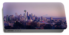 High Angle View Of A City At Sunrise Portable Battery Charger by Panoramic Images