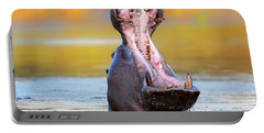 Hippopotamus Displaying Aggressive Behavior Portable Battery Charger by Johan Swanepoel