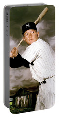 American Fabric   Mickey Mantle Portable Battery Charger by Iconic Images Art Gallery David Pucciarelli