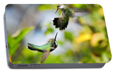 Hummingbirds Ensuing Battle Portable Battery Charger by Christina Rollo