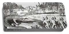 Hunting Alligators In The Southern States Of America Portable Battery Charger by Theodor de Bry