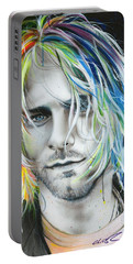 Kurt Cobain - ' In Debt For My Thirst ' Portable Battery Charger by Christian Chapman Art
