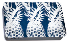 Indigo And White Pineapples Portable Battery Charger by Linda Woods