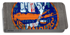 Islanders Hockey Team Retro Logo Vintage Recycled New York License Plate Art Portable Battery Charger by Design Turnpike
