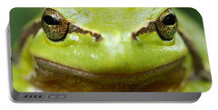 It's Not Easy Being Green _ Tree Frog Portrait Portable Battery Charger by Roeselien Raimond