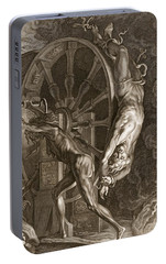 Ixion In Tartarus On The Wheel, 1731 Portable Battery Charger by Bernard Picart