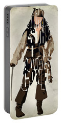 Jack Sparrow Inspired Pirates Of The Caribbean Typographic Poster Portable Battery Charger by Ayse Deniz