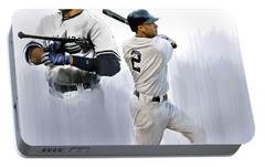 Jeter V Derek Jeter Portable Battery Charger by Iconic Images Art Gallery David Pucciarelli
