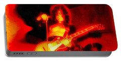 Jimmy Page On Fire Portable Battery Charger by Dan Sproul