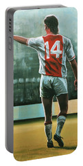 Johan Cruijff Nr 14 Painting Portable Battery Charger by Paul Meijering