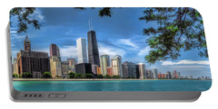 John Hancock Chicago Skyline Panorama Portable Battery Charger by Christopher Arndt