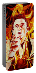 Johnny Cash And It Burns Portable Battery Charger by Joshua Morton