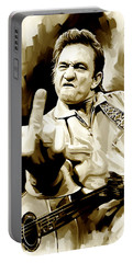 Johnny Cash Artwork 2 Portable Battery Charger by Sheraz A