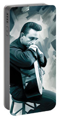Johnny Cash Artwork 3 Portable Battery Charger by Sheraz A