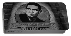 Johnny Cash Black And White Portable Battery Charger by Dan Sproul