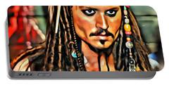 Johnny Depp As Jack Sparrow Portable Battery Charger by Florian Rodarte