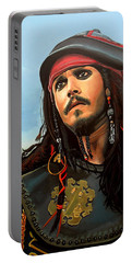 Johnny Depp As Jack Sparrow Portable Battery Charger by Paul Meijering