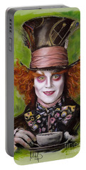Johnny Depp As Mad Hatter Portable Battery Charger by Melanie D