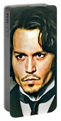 Johnny Depp Portrait Portable Battery Charger by Florian Rodarte