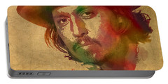Johnny Depp Watercolor Portrait On Worn Distressed Canvas Portable Battery Charger by Design Turnpike