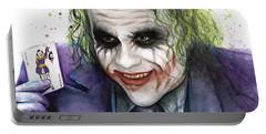 Joker Watercolor Portrait Portable Battery Charger by Olga Shvartsur