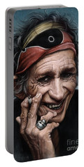 Keith Richards Portable Battery Charger by Andre Koekemoer
