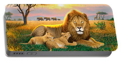 Kings Of The Serengeti Portable Battery Charger by Chris Heitt