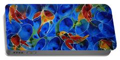 Koi Pond 2 - Liquid Fish Love Art Portable Battery Charger by Sharon Cummings