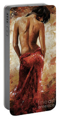 Lady In Red 27 Soft Color Portable Battery Charger by Emerico Imre Toth