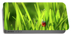Ladybug In Grass Portable Battery Charger by Carlos Caetano