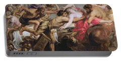 Lapiths And Centaurs Oil On Canvas Portable Battery Charger by Peter Paul Rubens
