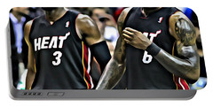 Lebron James And Dwyane Wade Portable Battery Charger by Florian Rodarte