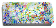 Led Zeppelin Live Concert - Watercolor Painting Portable Battery Charger by Fabrizio Cassetta
