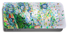 Led Zeppelin - Watercolor Portrait.2 Portable Battery Charger by Fabrizio Cassetta