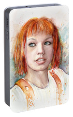 Leeloo Portrait Multipass The Fifth Element Portable Battery Charger by Olga Shvartsur