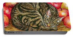Left Hand Apple Cat Portable Battery Charger by Ditz
