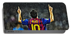 Leo Messi Poster Art Portable Battery Charger by Florian Rodarte