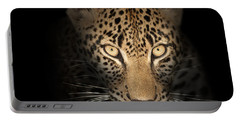 Leopard In The Dark Portable Battery Charger by Johan Swanepoel