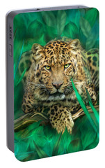 Leopard - Spirit Of Empowerment Portable Battery Charger by Carol Cavalaris