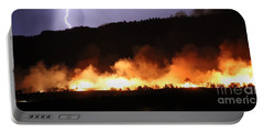 Portable Battery Charger featuring the photograph Lightning During Wildfire by Bill Gabbert