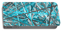 Link - Turquoise And Gray Abstract Portable Battery Charger by Lourry Legarde
