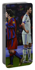 Lionel Messi And Cristiano Ronaldo Portable Battery Charger by Paul Meijering