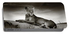 Lioness On Desert Dune Portable Battery Charger by Johan Swanepoel