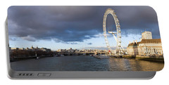 London Eye At South Bank, Thames River Portable Battery Charger by Panoramic Images