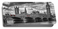 London - Houses Of Parliament And Red Buses Portable Battery Charger by Melanie Viola