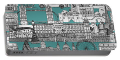 London Toile Blue Portable Battery Charger by Sharon Turner