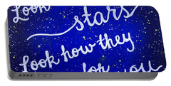 Look At The Stars Quote Painting Portable Battery Charger by Michelle Eshleman