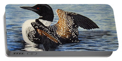 Loon In Flight Portable Battery Charger by Brenda Brown
