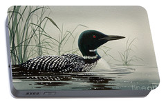 Loon Near The Shore Portable Battery Charger by James Williamson